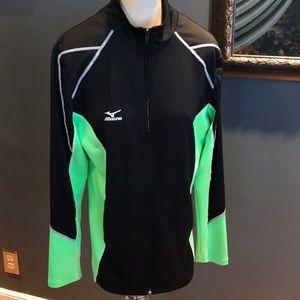 Mizuno black/lime stretch knit zip front jacket, M